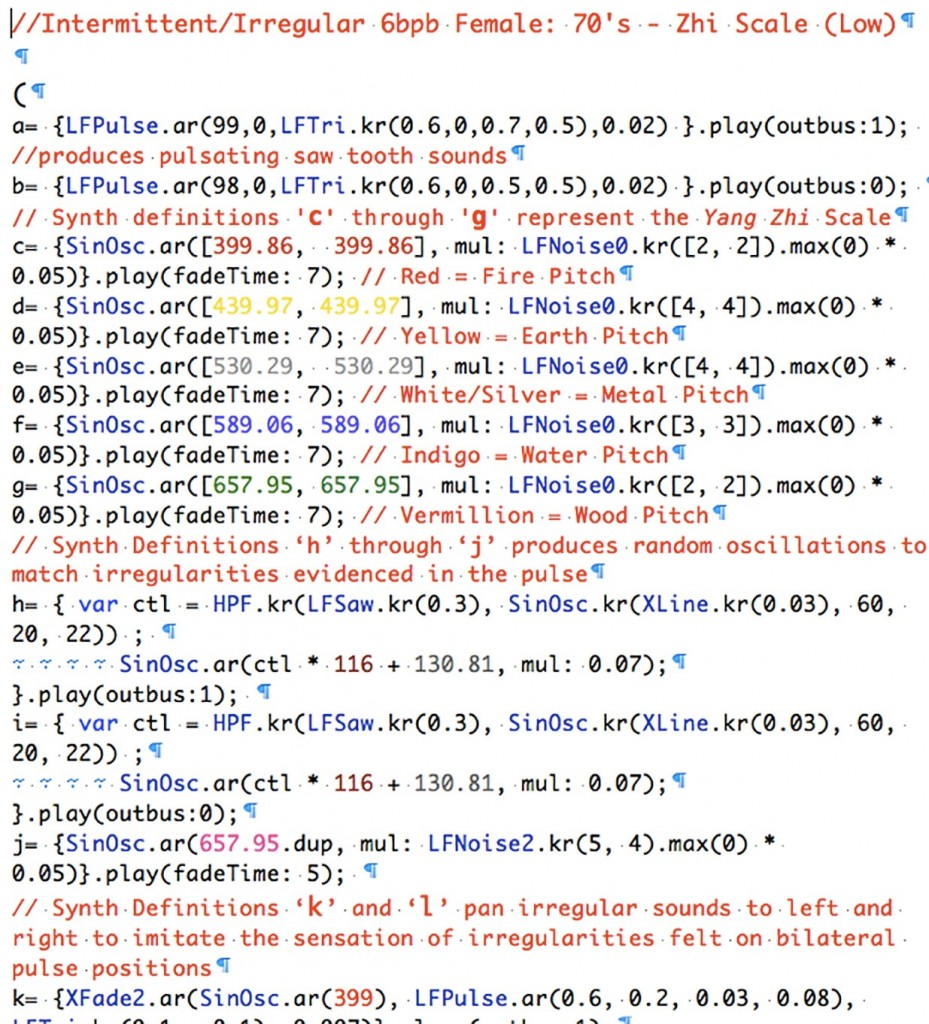 Figure 6: Sample SC Code for V&A 1 Composition (2013). © Michelle Lewis-­King