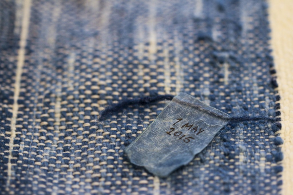 """Tricia Flanagan.""""BODY ecology"""", 2015. Detail of blanket, lambs-wool, indigo, 200 x 150 cm, Centre for Mobilities Research, Lancaster University, United Kingdom, Photo courtesy of the artist. ©Tricia Flanagan."""